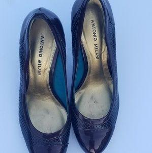 Antonio melani brown and teal heels